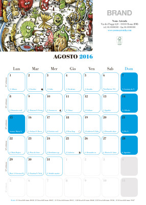 Calendario morbido|Agosto 2016 | cm (30x42)