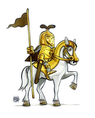 Cavaliere   Bozzetto per la realizzazione di giocattolo in peluche.