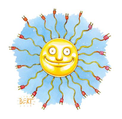 Energia solare - Copertina disegnata per Erasmo - Quotidiano per bambini