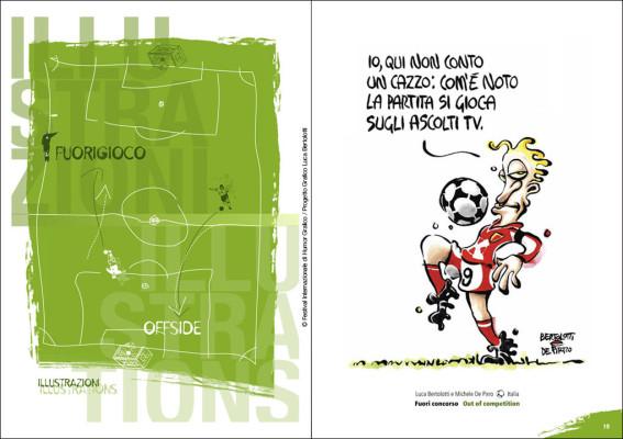 Fuori gioco. Interno catalogo | 11° Festival Internazionale di Humor Grafico <br>Illustrazione di Bertolotti e De Pirro