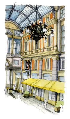 Galleria Mazzini Genova - acquarello e inchiostro