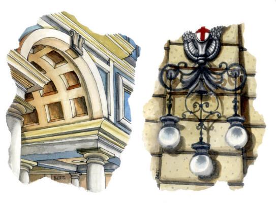 Galleria Mazzini Genova/Particolari - acquarello e inchiostro