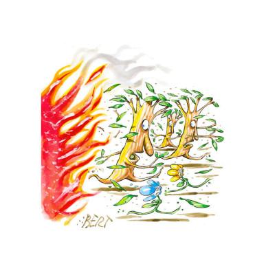 L'incendio che paura - Copertina disegnata per Erasmo - Quotidiano per bambini