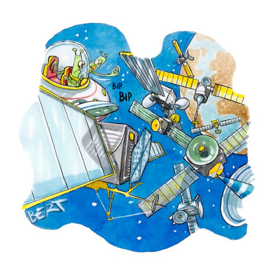 Traffico nel cielo - Copertina disegnata per Erasmo - Quotidiano per bambini